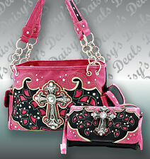 Western Concealed Weapon Purses Rhinestone Cross Handbag & Clutch Set