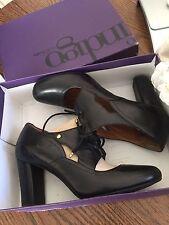 "Clarks Indigo Women""s  Shoes Chunky Heel Lace Up Black Leather"