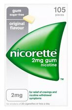 6 Packs of Nicorette 2mg Gum Nicotine 105 Pieces