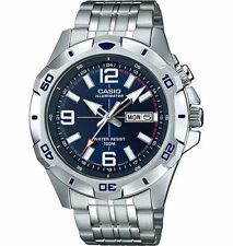 Mens Casio MTD1082D-2AV Blue Dial Illuminator Nightlight Stainless Steel Watch