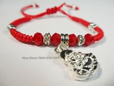 Happy Money Buddha Bead Feng Shui Good Luck Lucky Charm String Bracelet Silver a