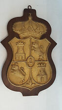 Vintage Heavy Royal Crest - Coat of Arms Wall Plaque Wood Shield Cast Metal