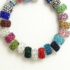 Wholesale 50pcs mix silver CZ  European charm Fit Necklace Bracelet Pendant bead