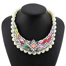 Pink Green Yellow Gem and Diamante Faux Pearl Statement Necklace Collar Bib