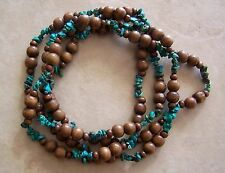 "54"" Long Strand Turquoise Small Nugget Chip & Wood Round Beads 6mm-10mm Necklace"