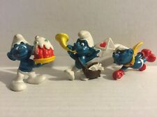 Lot of 3 Vintage 1976 Peyo Smurfs Collectible Figurine Toys Cake Love Letter Fly