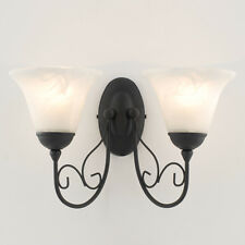 Contemporary Black & Glass Twin Wall Light Wall Wash Sconce
