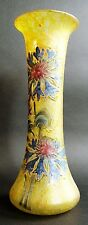 "Fine 13.5"" LEGRAS ART NOUVEAU Mottled Yellow & Enameled Art Glass Vase  c. 1910"