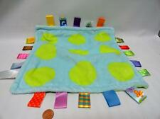 Little Taggies Lime Green and Blue Polka Dots Circles Lovey Security Blanket