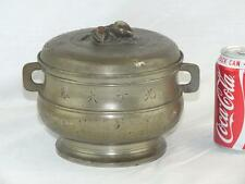 UNUSUAL ANTIQUE CHINESE PEWTER CALLIGRAPHY BOWL COVER AND LINER - MARKS