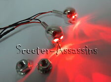 CHROME SKULL RED LED Marker lamps/lights Number/Licence plate bolts (pair)