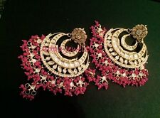 Indian weddings earrings jewellery.bollywood chand bali Gold Hot Pink Kundan