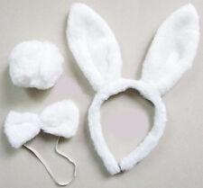 EASTER Plush Bunny White Rabbit Headband Ears Tail Fancy Dress Bow Tie Set Cute