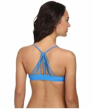 NWT $38  VOLCOM  SIMPLY SOLID  BLUE  CROP STRAPPY  BIKINI TOP ONLY  ***