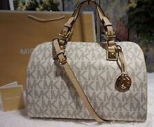 NWT MICHAEL KORS Grayson MK Monogram LARGE VANILLA PVC Leather Satchel Bag $348