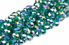 36 Tealish Green AB Faceted Crystal Rondelle Beads 8MM