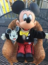 Vintage Mickey Mouse Plush Stuffed Toy w Rubber Plastic Head Hands Feet  1980s