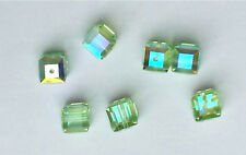 12 SWAROVSKI CRYSTAL - CHRYSOLITE AB  6mm Loose BEADS 5601 CUBES, Bridal/Wedding