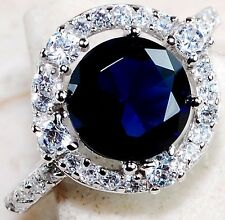 2CT Blue Sapphire & White Topaz 925 Solid Sterling Silver Ring Sz 7