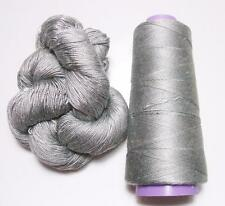100% Mulberry Queen Silk Yarn 50 gram 3Ply Silver Gray Lace Weight Si 254 Lot B
