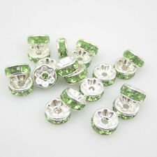 NEW for Fashion 20pcs Size 8MM Plated silver crystal spacer beads green BZC37