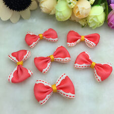 DIY 10Pcs Red Satin Ribbon Organzn Lace BOW Appliques/Craft/Wedding Decoration