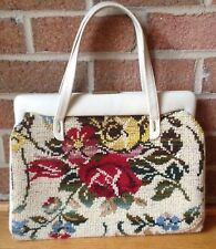 Vintage 'JANA' Carpet Bag Tapestry Handbag Large Colorful Roses Dual Strap