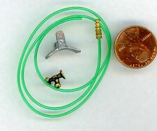 "Miniature Dollhouse Green Rubber Hose Hose end Faucet and Hose Holder 1/2"" Scale"