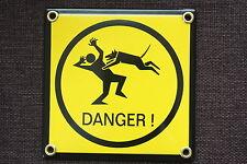 12 x 12 cm DANGER Hund, Warnung vor dem Hund EMAILSCHILD Warnschild Hundeschild