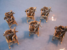 ~ Unusual Solid Silver cherub angels with harps place card holders menu holders