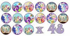 48 x 3cm My Little Pony Fairy Cup Cake Toppers Edible Rice Paper