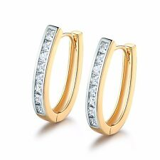 Journey Jewelry! 18K Gold Platinum filled Simulated Diamond U shape hoop earring