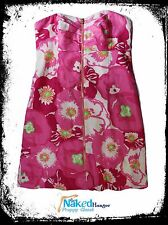 Lilly Pulitzer Dress Strapless Flowers Pink Front Zip Ruched Bust Women's Size 0