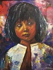Original Painting S American Girl Signed D Malsom 1968 Beautiful Brush Work