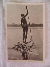 VINTAGE OLD EARLY SMALL PHOTO CARD AUSTRALIAN ABORIGINAL FISHING WITH SPEAR