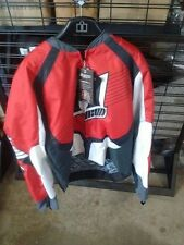 NEW RED WHITE BLACK ICON OVERLORD MOTORCYCLE JACKET SIZE 2X-LARGE FREE SHIP