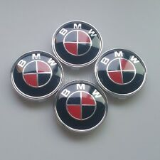 4 Pcs 68mm BMW Red-Black CARBON Emblem Logo Badge Hub Wheel Rim Center Cap