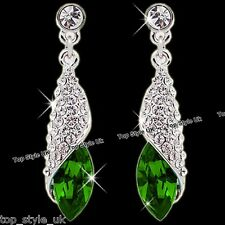 Emerald Green Crystal Drop Diamond Earrings Sparkling Bridal Jewellery Gift Girl