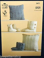 Aran Knit Cushion Cover & Slippers Boots Knitting Pattern 1 - Adult