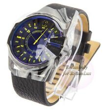 DIEZEL DZ1642 MASTER CHIEF Black Leather Strap Blue Refective Dial Men's Watch