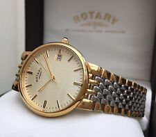 Rotary Mens Gold Plated Watch Lightweight Champagne dial RRP £190 Genuine (R67