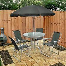 Muebles Patio Jardín Juego De 4 Asientos Comedor Parasol Mesa Cristal Y Sillas