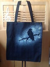 Rock, Goth, Mysterious Raven Hand Spray Painted 100% Cotton Tote Bag
