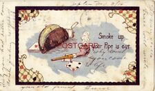 pre-1907 SMOKE UP YOUR PIPE IS OUT playing cards and smoking pipe 1908