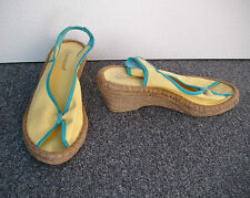 Atmosphere Yellow Wedge Espadrille Sandals Size 5/38