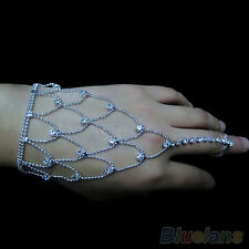Chic Womens Wedding Crystal Jewelry Hand Harness Bracelet Chain Finger Ring Cuff