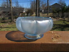 1980's Fenton Glass Velva blue stretch Iridescent Melon Bowl light blue