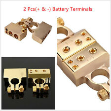 2Pcs(- and +) Car Battery Terminal Clamp Copper alloy Connector Gold Plated Tool