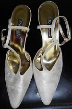 ESCADA Vintage Shoes 7.5 37.5 Suede Gold Leather Hapachico Haute Couture