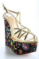 Charlotte Olympia Black Jewel Print Elizabeth Wedges Size 39 9 New In Box $895